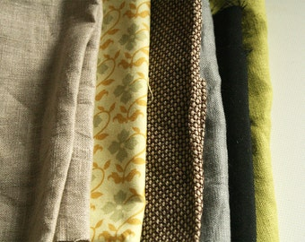 LINEN + COTTON FABRICS / remnants / 10 pieces / linen fabric / australia