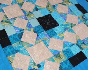 Traditional Turquoise Quilted Wall Hanging,  Aqua, Table Topper, Quiltsy Handmade