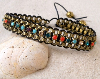 Bead Jewelry - Rhinestone Bead Bracelet - Beaded Wrap Bracelet - Leather Wrap Bracelet - Boho Wrap Bracelet - Turquoise and Coral Bracelet