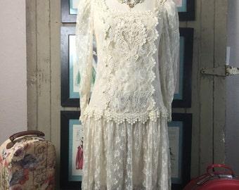 Sale 1980s dress sheer lace dress 80s dress size medium Vintage dress flapper dress 1920s style dress