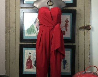 Red jumpsuit vintage jumpsuit size small red pant suit strapless jumpsuit Vintage pant suit