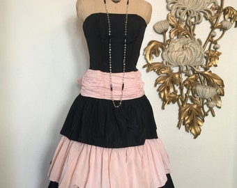 1980s dress prom dress 80s does the 50s pink and black party dress 50s style dress strapless dress x small
