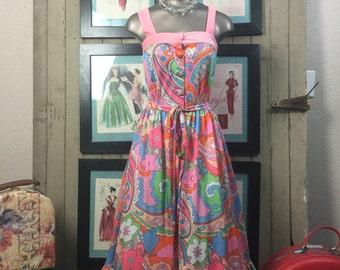 1960s sundress 60s psychedelic dress size small Vintage sleeveless dress pink summer dress