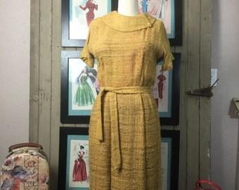 1950s yellow dress 50s day dress size medium Vintage dress burlap dress Neiman Marcus dress