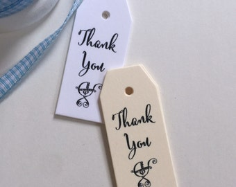 50 Baby Shower Favor Tags -  Mini Favor Tags - Baby Carriage Tag -  Baby Buggy Tags - Baby Shower Gift Tags - T003