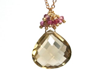 Topaz and Saphire Cluster Necklace/14K Gold Filled Cable Chain/Handmade Jewelry/Elegant Jewelry