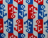 VINTAGE Anchor red white and blue Sailor Jerry 70s cotton fabric
