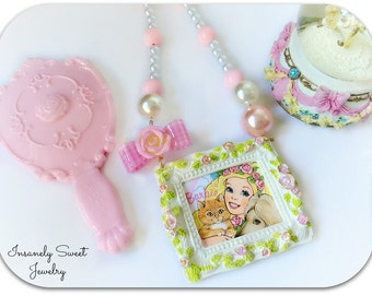 Barbie  Necklace, Vintage Barbie, Kawaii Pastel Necklace, 80s Barbie doll