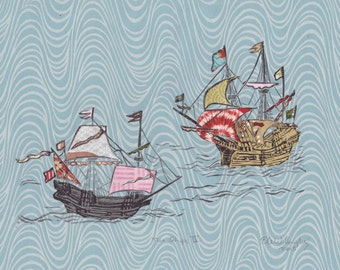 Two Ships IV - Block Print with Mixed Papers - Lino Block Print Historic Sailing Ships, Exploration, Collaged Japanese Papers