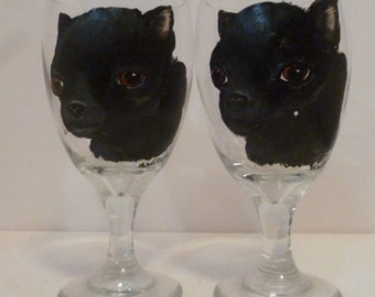 Black Chihuahua Dog Ice Tea  Glasses set of 2 Hand Painted by Mary Wilson of Pet Lovers Boutique