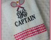 Captain or Co-Captain Tennis Towel with Crossed Rackets Hot Pink Chevron with Monogram