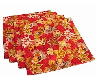 Fall Napkins, Floral Napkins, Red Napkins