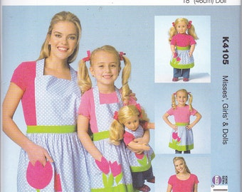"Kwik Sew 4105 Misses Girls Dolls 18"" Matching Aprons Sewing Pattern Sizes S-L NEW"
