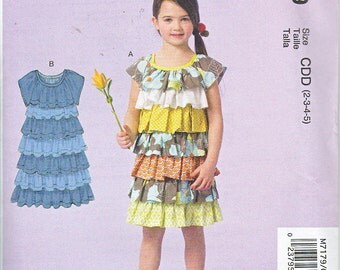 McCalls 7179 Little Girls Pullover Ruffled Dress Sewing Pattern Sizes 2-5 NEW