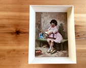 Vintage Oil Painting Portrait of a Girl Embroidering. Framed Original Art. Sweet Child's Portrait, Retro Cottage Decor. Moody, Contemplative