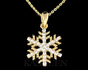 Swarovski Crystal SNOWFLAKE Snow bridal Wedding Holiday Charm Fine Cable Gold Tone Chain Necklace Jewelry Friend Mother's Day Christmas Gift