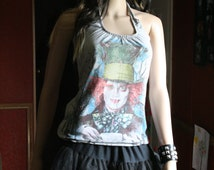 Mad Hatter Alice in Wonderland Looking glass Disney tank top halter neck upcycled small