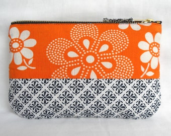 1970's Retro Vintage Floral Fabric Make Up Bag, with Japanese fabric. Zip Purse, Pouch.  Ipod Case. Orange Blue White (b)