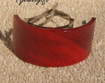Stunning Red Fused Glass Pony Tail Barrette 16P001