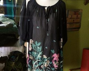 Vintage 1970's/80's super sheer black boho/hippie dress. Size M/L