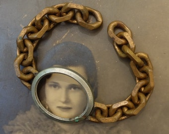 Vintage Bracelet Brass Chain Chunky Links Supply