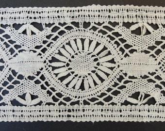 2 yds Antique Bobbin Lace Trim Wide Cotton Trim