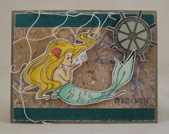 Mermaid Greeting Card - Nautical Card - Mermaid Card - Fantasy Greeting Card - Hand Stamped - Ocean Sea Beach
