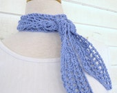 Periwinkle Blue Purple Organic Cotton Neck Scarf Skinny Scarf Neck Kerchief Headband