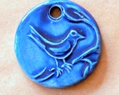 Bold Blue Bird on a Limb Ceramic Bead - Handmade Pendant Bead with Extra Large Hole - Jewelry Supplies