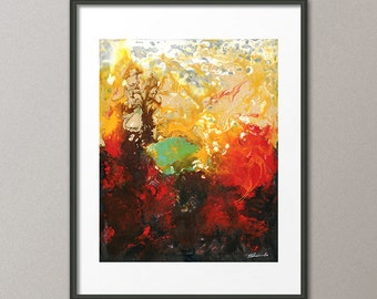 Red Art Prints and Gallery Canvas Acrylic Colorful Painting Conceptual Abstract Art Contemporary Art Modern Art Elena