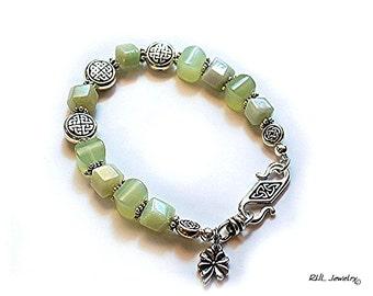 Celtic Bracelet - Green Celtic Bracelet - Light Green Bracelet Shamrock Charm - B2016-09