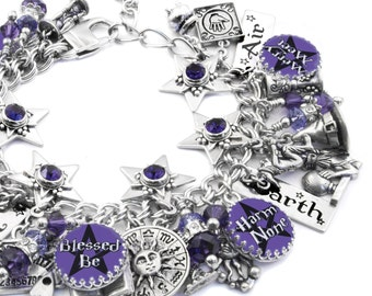 Wiccan Jewelry - Wicca Bracelet - Witch Charm Bracelet - Pentagram Jewelry