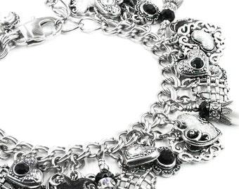 Black and White Charm Bracelet, Pearl Charm Bracelet, Black Heart Bracelet, Valentines Day, Love Bracelet, Heart Jewelry