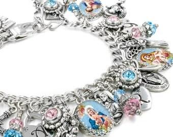 Charm Bracelet, Faith Jewelry, Catholic Jewelry, Christian Bracelet, Cross Bracelet, Madonna Bracelet, Virgin Mary Bracelet