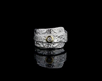 Diamond Ring in Sterling Silver and 18 Karat gold