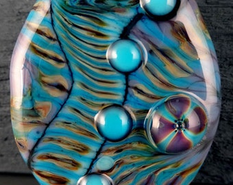 Purple, Raku Focal Handmade Glass Lampwork Bead by Laurie Geller..SRA