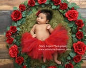 Kissed by a Rose - Handmade Red Tutu Skirt
