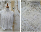 Vintage Antique 1900/1910 Edwardian white lace & thin cotton top  size XXS