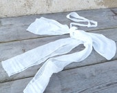 Vintage Antique  1900 Edwardian French white cotton organdi belt with bow at the back / Holy communion