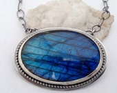 ON SALE Large Silver Labradorite Necklace, Artisan Jewelry, Blue Fire Stone, Modern Metalwork, Silversmith Jewelry, Gift for Women