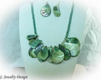 Green Shell Necklace and Earrings