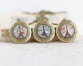 Eiffel Tower Brass Locket Necklace, Photo Locket, Picture Locket, Secret Place, Hiding Place, Locket Pendant, Gift For Woman