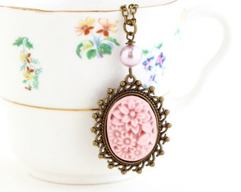 Pink Cameo Necklace - Cameo Pendant - Baby Pink - Pink Pearl - Brass Chain - Gift For Sister - Girlfriend Gift