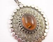 Vintage Sterling Amber Pendant