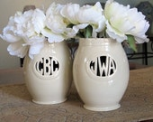 Personalized Monogrammed Gift - Small Handmade Vase for Individuals or Couples