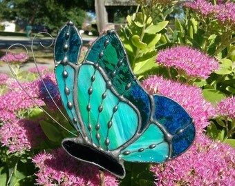 Green and Blue Stained Glass Butterfly Garden Stake, Plant Stake, Garden Decoration, Tiffany Butterfly