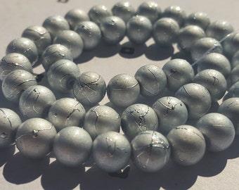 Grey Spray Painted Acrylic Beads 8mm (50)