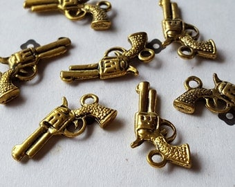 Antiqued Gold Revolver Charms (5)