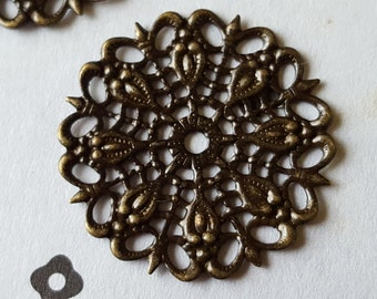 Antiqued Brass Filigree Findings Connectors