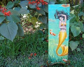 Koi Mermaid Painting ORIGINAL Painting Original Art Mermaid Art Fantasy Art Koi Fish